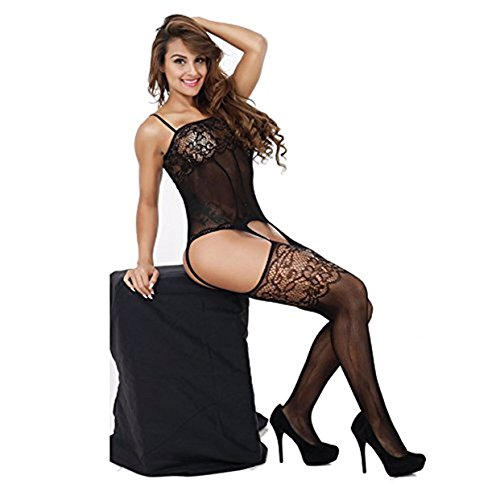 Queen.K Lingerie Bodystockings, Sexy Stretch Fishnet Lace Crotchless Underwear Bodysuit Black One Size For Women (Black) (Bodysuit Lingerie Underwear)