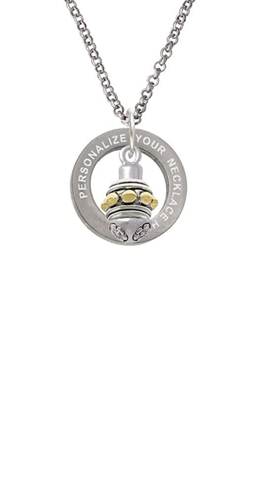 Delight Jewelry Goldtone Large Bullets on Silvertone Spinner Custom Engraved Affirmation Ring Necklace