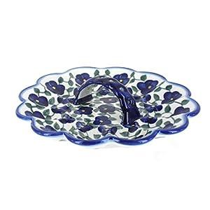 Blue Rose Polish Pottery Violets Egg Plate