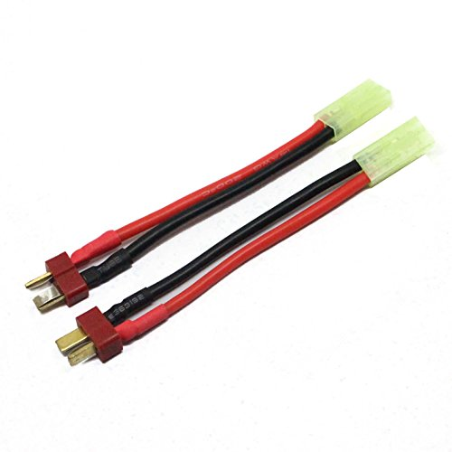 powerday Deans Male T Plug to Mini Micro Tamiya Female Connector Adapter Cable Cord Wire 2pcs