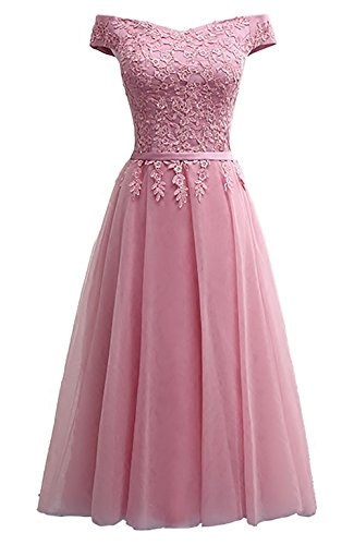 Lace Tea Prom length Gowns Women 2018 for Callmelady Evening Elegant Dresses Formal Pink Dusty d74HRWq