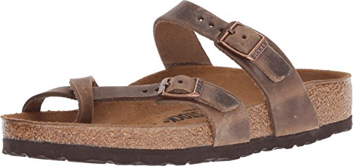 Birkenstock Women's, Mayari Thong Sandals Tobacco 39 M (Taupe Footwear Leather Light)