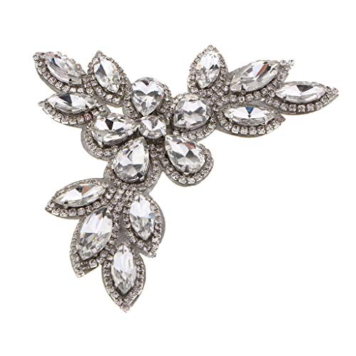 (Flower Silver Heat Iron on Transfer Patch Rhinestone Crystal Applique Badge)