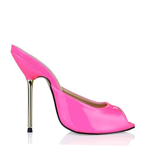 a Tacco Toe Partito Spillo Sexy Donna da CHAU a CHMILE a Rosa Peep Metallo Scarpe Moda Tacco Sandali Alto qF4wvz