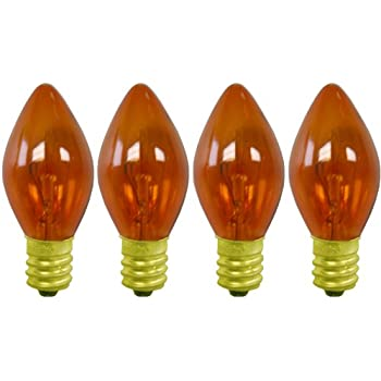 c 7 amber colored transparent christmas light replacement bulbs c7t a
