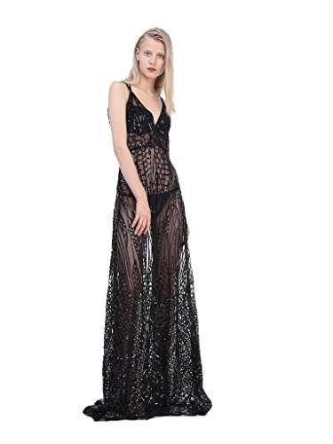 PERSUN Women's Black Sequined Sexy V-neck Sheer Strappy Maxi Dress, M - Sequined Sheer