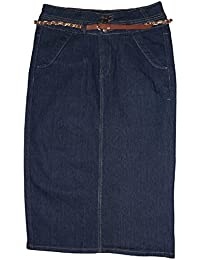"Belted Denim Skirt 28"" in Length Women's Stretch Below The Knee"