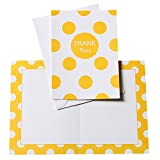 Polka Dot Thank You Note Cards, Yellow, 8 Count