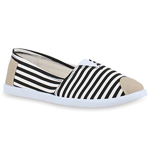 Stiefelparadies Damen Espadrilles Bast Slipper Glitzer Streifen Sommer Schuhe Flandell Schwarz Weiss