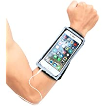Cell Phone Armband for Running – Water Resistant Case for iPhone X 8 7 6S, Galaxy S8 S7 S6, Android – Zip Pocket Key Holder, Full Touch Screen and Earphone Access – Wristband Stretches to Fit Forearm