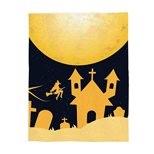 Luxury Flannel Throw Blanket Digital Printing 49x59inch Halloween Night Castle on The Full Moon Stadium Blanket Lightweight Travel Camping Blankets for Couch Sofa Bed ()