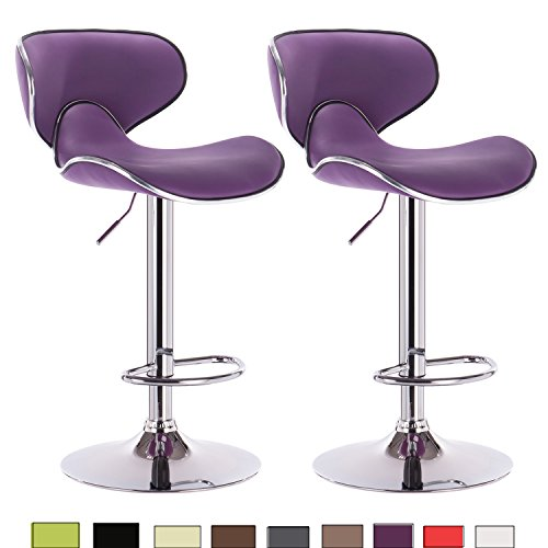 WOLTU 2pur-c Set of 2 Modern Barstools with Backs Hydraulic Synthenic leather stools for bar,Counter and Kitchen Stools Adjustable Seat Height 24.4 to 32.7 inch,Purple
