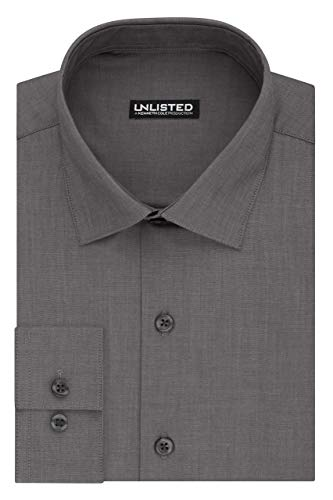 (Kenneth Cole Unlisted Men's Dress Shirt Big and Tall Solid ,  Graphite,  19