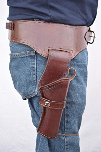 Standard Belt Holster - Leathertown USA Gun Holster & Belt Cowboy Western Style Rig .44/.45 Cal Single Drop Holster Standard Long Barrel Brown Plain Size 36