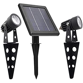 Mini 50x Solar Powered Twin Led Spotlight Cast Aluminium
