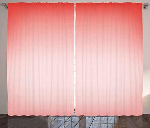 Ambesonne Peach Curtains, Abstract Ombre Composition in Feminine Colors with Dreamy Display Art Print, Living Room Bedroom Window Drapes 2 Panel Set, 108 W X 63 L inches, Coral Dark Coral