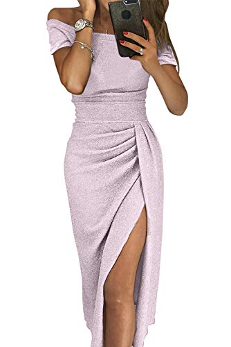 Women Semi Formal Dresses -Off The Shoulder Wrap Front Slit Sparkly Midi Evening Dress Party Wear - Formal Semi Dress