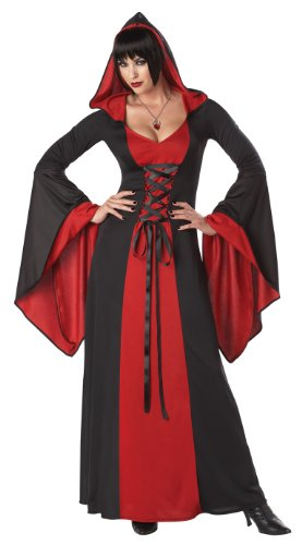 [California Costumes Women's Deluxe Hooded Robe Adult, Red/Black, X-Small] (Womens Deluxe Hooded Robe Costumes)