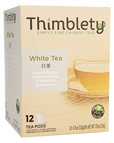 Thimblety Chinese Silver Needle White Tea Keurig Compatible K-Cup 12 Pack, brew 2 cups per pod