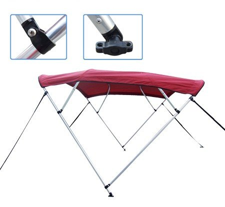Burgundy Pontoon / Deck Boat Vortex 4 Bow Bimini Top 8' Long, 97-103' Wide, 54' High, Complete Kit, Frame, Canopy, and Hardware (FAST SHIPPING - 1 TO 4 BUSINESS DAY DELIVERY)