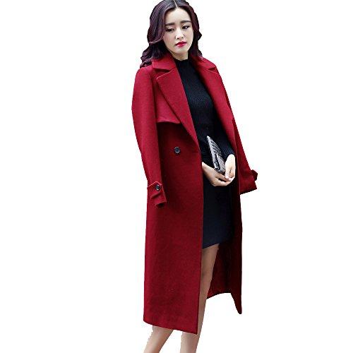 Las Mujeres Del Ms De Invierno Moda Delgado Abrigo De Lana De Doble Cara Abrigo De Lana Largo Multicolor Multi-tamaño,Red-xl