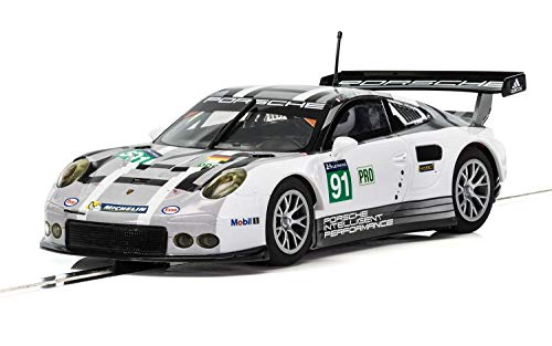 Scalextric C3944 Porsche 911 RSR Le Mans 24 Hrs 2016 1:31 Slot Race Car, White/Gray/Black (Model Gray Porsche)