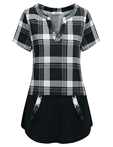 AxByCzD Classic Plaid Shirts for Women,Female Modest Tunic Modern Vintage V-Neck Short Sleeve Casual Feminine Tops Color Block Dressy Flare Hem Performance Pullover Designer Blouse Gray Black Plaid L
