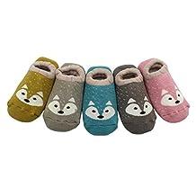 Estwell Baby Boys Girls Anti Slip Thicken Socks Cute Fox Toddler Socks for 1-3 years