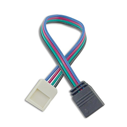 10mm (5050) Solderless LED Light Strip Connector Extension, Multi Color RGB - 6 Inch (4 Pack) Strip to 4 Pin Connector - for LED Strip Light & Tape Light in Kitchens, Cabinets, Shelving & More