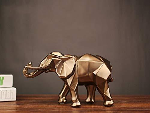 JDSHSO Modern Abstract Elephant Statue Resin Crafts Desktop Ornaments Home Decor Gift Geometric Resin Elephant Sculpture (Resin Sculpture Elephant)