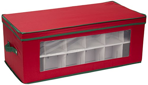 Household Essentials 551RED Large Christmas Tree Ornament Storage Box | Stores Up to 36 Xmas Ornaments | Red Bin with Green Trim