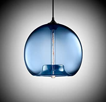 Modern vintage blue glass shade industrial loft ceiling lamp modern vintage blue glass shade industrial loft ceiling lamp pendant light mozeypictures Gallery