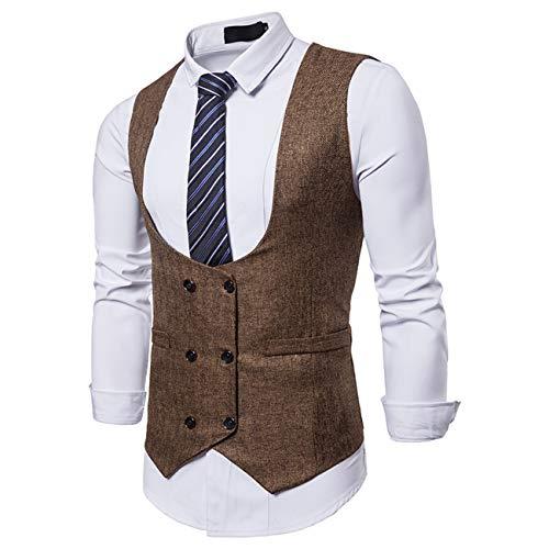 Charles Nylon Vest - Men's Pure Color Suit Vest Dress Vest Waistcoat for Men Tuxedo Vest(Brown,XL)