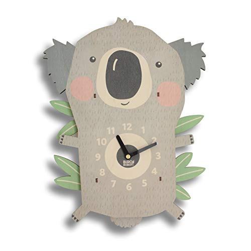 Birch Robot Koala Wood Wall Pendulum Clock, Wall Decor for Baby Nursery, Kids Playroom, Bedroom