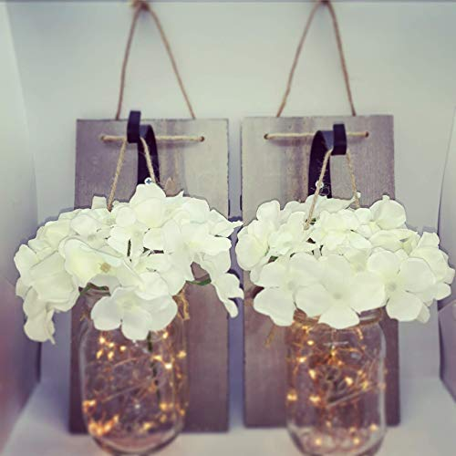 BIRCH and BLISS - Rustic Wall Sconces - Mason Jars Sconce, Rustic Home Decor, Wrought Iron Hooks, Silk Hydrangeas and Fairy LED Lights, Lighting for Home Decoration (Set of 2)