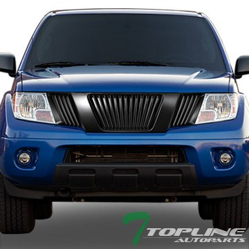 Topline Autopart Matte Black Vertical Front Hood Bumper Grill Grille ABS For 05-08 Nissan Frontier ; 05-07 Pathfinder