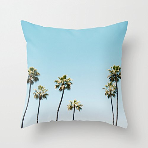 (Summer Palm Tree Pillow Covers Decorative Accent Pillows Cases 18 X 18 for Teen Girls Bed Rooms Decor)