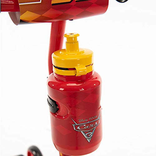 Huffy Disney Pixar Cars Preschool Scooter with Lights, Bell & A Water Bottle Superhero Red, Pixar Cars with Lights & Water Bottle