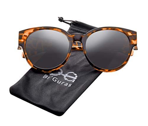 Br'Guras Polarized Oversized Fit over Sunglasses Over Prescription Glasses with Cat Eye Frame for Women&Men (Amber leopard, Black)
