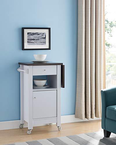 Smart home Extendable Portable Kitchen Cart (White & Dark Walnut)