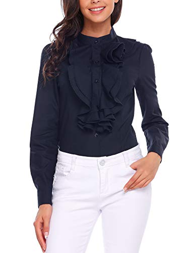 - Zeagoo Women Ruffle High Neck Blouse Long Sleeve Button Down OL Shirt Tops Navy Blue M