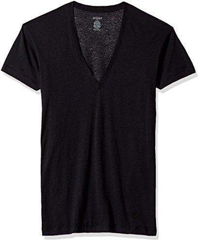 2(X)IST Men's Pima Cotton Slim Fit Deep V-Neck T-Shirt Underwear, Black, LG