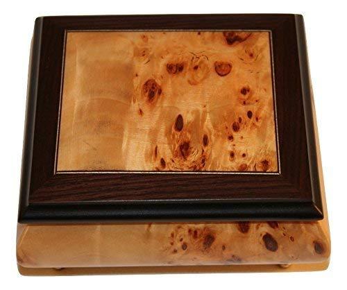 Birdseye Maple Jewelry Box - Matte finish Birdseye Maple Italian inlaid musical jewelry box with customizable tune options