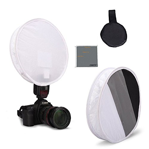 Fomito 31cm Flash Disc Portable Speedlight Softbox & Grey / White / Black Card Board White Balance on DSLR Camera - Round Light Box