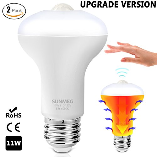 SUNMEG Updated PIR Motion Sensor Light, 11W Automatic LED Motion Sensor Light Bulb, Duration 90 Seconds, E26 Base Dusk to Dawn Night Light, 1050LM Cold White 6000K for Outdoor/Indoor, 2 Pack (Move Led)