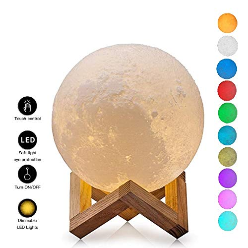 Night Light, LED 3D Printing Moon Lamp Adjustable Brightness Touch Control Tap Change (Cool White/Warm Yellow/Colorfull) with USB Recharge, Decorative Moon Lights for Kids Bedroom (5.9 Inches)