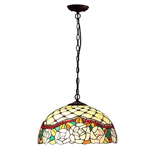 Jeweled Rose Stained Glass - Bieye L10570 16-inches Jeweled Rose Tiffany Style Stained Glass Ceiling Pendant Fixture