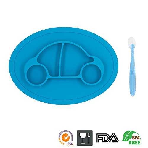 One-Piece Silicone Mini Placemat Plate-Highchair Feeding Tray Suction Placement with a ziplock Bag for Children, Kids, Toddlers,Kitchen Dining Table Out Door Travel with Free Spoon(Blue Car) -