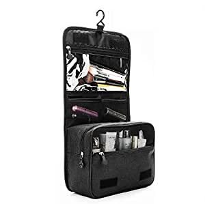 ZEON Travel Cosmetics Toiletries Packing Organiser Bag – Foldable Waterproof Makeup Hanging Storage Case (Black)