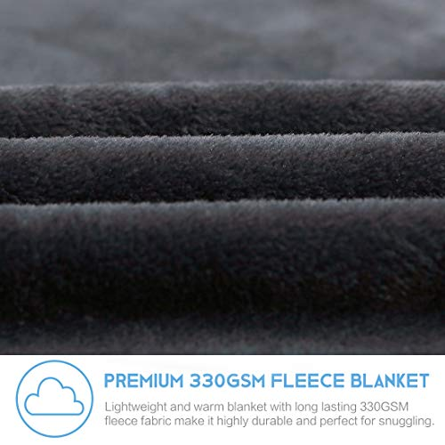 Fleece Blanket King Size Fuzzy Soft Plush Blanket Oversized 330GSM for All Season Spring Summer Autumn Throws for Couch Bed Sofa, 108 by 90 Inches, Dark Grey